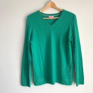 • Lilly Pulitzer Green Cashmere Sweater •
